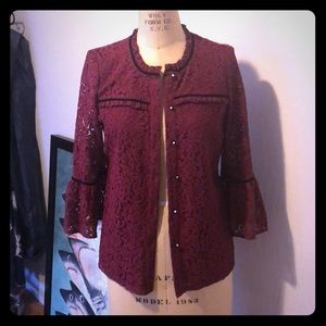 Karl Lagerfeld small burgundy lace jacket